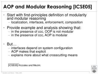 AOP and Modular Reasoning [ICSE05]