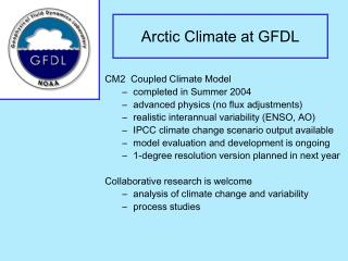 Arctic Climate at GFDL