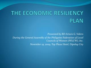 THE ECONOMIC RESILIENCY PLAN