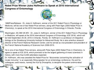 Nobel Prize Winner Jules Hoffmann to Speak at 2016