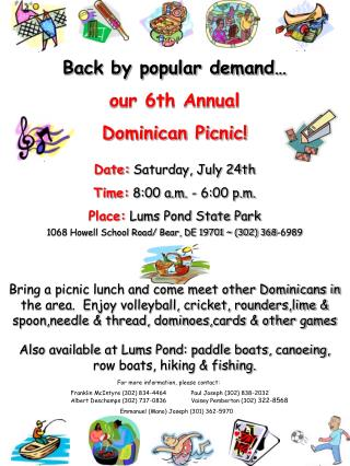 Back by popular demand… our 6th Annual Dominican Picnic!