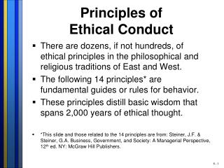 Principles of  Ethical Conduct