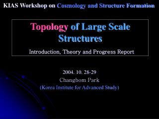 Topology  of Large Scale Structures Introduction, Theory and Progress Report