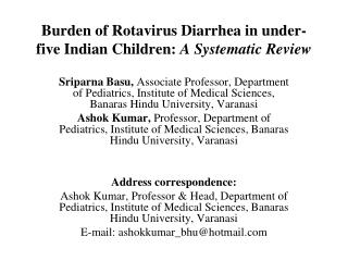 Burden of Rotavirus Diarrhea in under-five Indian Children:  A Systematic Review