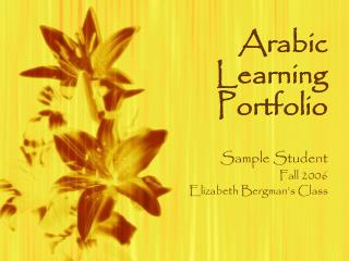 Arabic Learning Portfolio