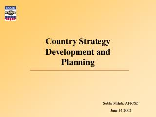 Country Strategy Development and Planning