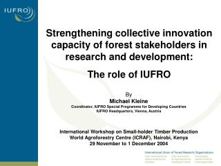Strengthening collective innovation capacity of forest stakeholders in research and development: