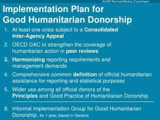 Implementation Plan for  Good Humanitarian Donorship