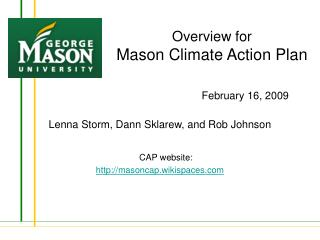 Overview for Mason Climate Action Plan