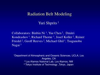 Radiation Belt Modeling