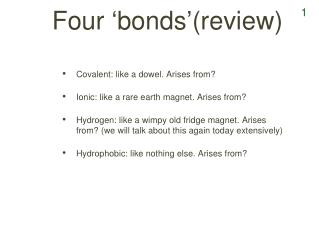 Four  ' bonds ' (review)