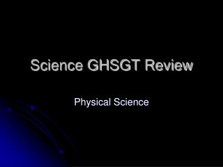 Science GHSGT Review