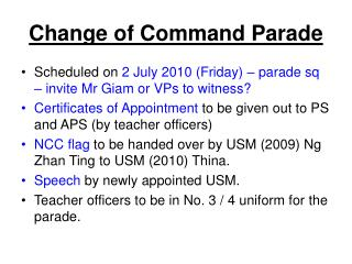 Change of Command Parade