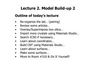Lecture 2. Model Build-up 2