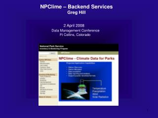 NPClime – Backend Services Greg Hill