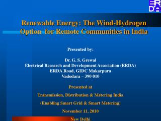 Renewable Energy: The Wind-Hydrogen Option  for Remote Communities in India