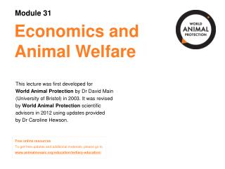 Economics and Animal Welfare