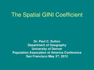 The Spatial GINI Coefficient