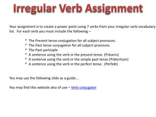 Irregular Verb Assignment