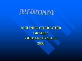 BUILDING CHARACTER GRADE 6 GUIDANCE CLASS 2002