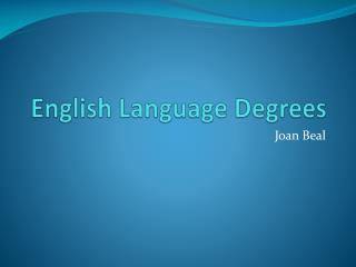 English Language Degrees
