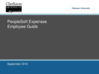 PeopleSoft Expenses Employee Guide