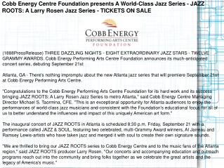 Cobb Energy Centre Foundation presents A World-Class Jazz Se