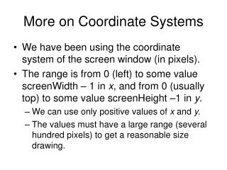 More on Coordinate Systems