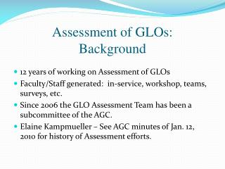 Assessment of GLOs: Background