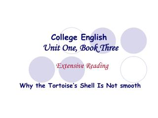 College English Unit One, Book Three