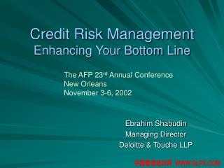 Credit Risk Management Enhancing Your Bottom Line