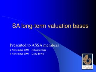 SA long-term valuation bases