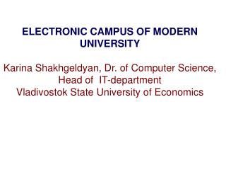 ELECTRONIC CAMPUS OF MODERN UNIVERSITY