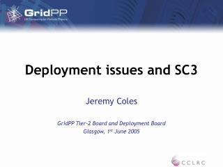 Deployment issues and SC3