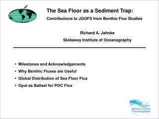 The Sea Floor as a Sediment Trap: Contributions to JGOFS from Benthic Flux Studies