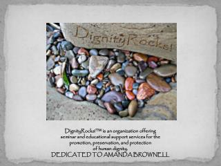 DignityRocks!™ is an organization offering seminar and educational support services for the