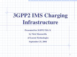 3GPP2 IMS Charging Infrastructure