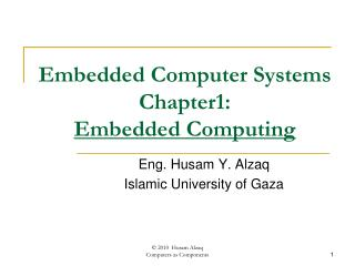 Embedded Computer Systems Chapter1:  Embedded Computing