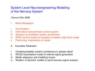 System Level Neuroengineering Modeling  of the Nervous System Cancun Dec 2008