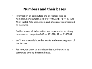 Numbers and their bases