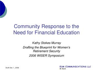 Community Response to the Need for Financial Education