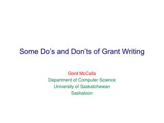 Some Do's and Don'ts of Grant Writing