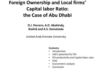 Foreign Ownership and Local firms' Capital labor Ratio:  the Case of Abu Dhabi