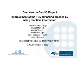 Overview on Geo 3D Project