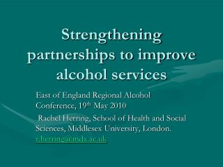 Strengthening partnerships to improve alcohol services