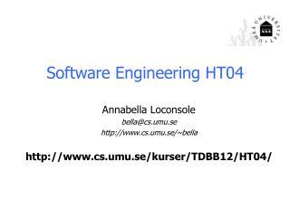 Software Engineering  HT04