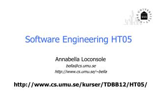 Software Engineering  HT05