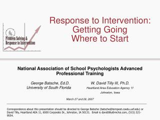 Response to Intervention: Getting Going  Where to Start