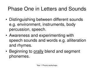 Phase One in Letters and Sounds