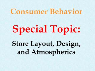 Consumer Behavior Special Topic: Store Layout, Design, and Atmospherics